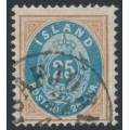 ICELAND - 1900 25a brown/blue Numeral, perf. 12¾, used – Facit # 29b