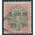 ICELAND - 1902 4a red/grey Numeral, perf. 12¾, overprinted Í GILDI '02-'03, used – Facit # 50
