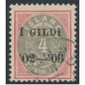 ICELAND - 1902 4a red/grey Numeral, perf. 12¾, o/p Í GILDI '02-'03, inverted watermark, used – Facit # 50v8