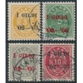 ICELAND - 1902 3a to 10a Numerals, overprinted Í GILDI '02-'03, used – Facit # 49+50+53+60