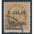 ICELAND - 1902 16a brown Numeral, perf. 12¾, overprinted Í GILDI '02-'03, used – Facit # 54