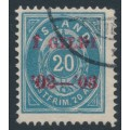 ICELAND - 1902 20a blue Numeral, perf. 12¾, overprinted Í GILDI '02-'03, used – Facit # 61