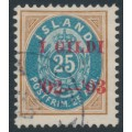 ICELAND - 1902 25a brown/blue Numeral, perf. 12¾, overprinted Í GILDI '02-'03, used – Facit # 62