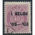 ICELAND - 1902 40a purple Numeral, perf. 14:13½, overprinted Í GILDI '02-'03, used – Facit # 42b