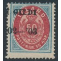 ICELAND - 1902 50a blue/red Numeral, perf. 14:13½, misplaced Í GILDI '02-'03 o/p, MH – Facit # 43