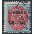 ICELAND - 1902 50a blue/red Numeral, perf. 14:13½, overprinted Í GILDI '02-'03, used – Facit # 43