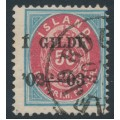 ICELAND - 1902 50a blue/red Numeral, perf. 12¾, overprinted Í GILDI '02-'03, used – Facit # 58