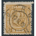 ICELAND - 1907 3a brown-yellow Two Kings, cancelled in Norway – Facit # 77