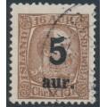 ICELAND - 1922 5aur overprint on 16a purple-brown King Christian IX, used – Facit # 98