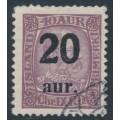 ICELAND - 1922 20aur overprint on 40a purple King Christian IX, used – Facit # 100