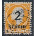 ICELAND - 1926 2Kr overprint on 25a orange Jón Sigurðsson, used – Facit # 106
