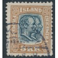 ICELAND - 1907 5Kr red-brown/grey Two Kings, crown watermark, used – Facit # 90