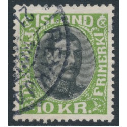 ICELAND - 1931 10Kr green/black King Christian X, used – Facit # 157