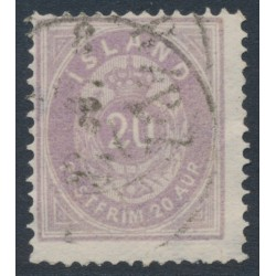 ICELAND - 1876 20a pale violet Numeral, perf. 14:13½, used – Facit # 14a