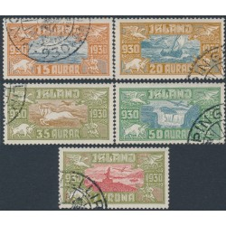 ICELAND - 1930 15aur to 1Kr Anniversary of the Althing airmail set of 5, used – Facit # 189-193