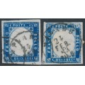 ITALY - 1863 15c blue King Vittorio Emanuele II, two examples, used – Michel # 14