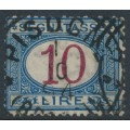 ITALY - 1874 10L blue/brown Postage Due, used – Michel # P14