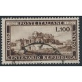 ITALY - 1949 100L dark brown Anniversary of La Repubblica Romana, used – Michel # 773