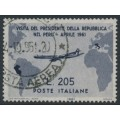 ITALY - 1961 205L deep violet President's visit to South America, used – Michel # 1102