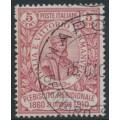 ITALY - 1910 5c+5c rose-red Giuseppe Garibaldi, used – Michel # 97