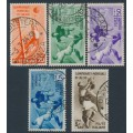 ITALY - 1934 20c to 5L+2.50L Football World Cup set of 5, used – Michel # 479-483