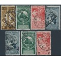 ITALY - 1911-1913 United Italy set of 4 plus overprints set of 3, used – Michel # 100-103 + 107I+109I