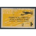 ITALY - 1934 2L on 2L yellow Rome to Buenos Aires First Flight, used – Michel # 459