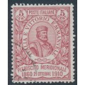 ITALY - 1910 5c+5c rose-red Naples Plebiscite, used – Michel # 97