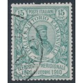 ITALY - 1910 15c+5c green Naples Plebiscite, used – Michel # 98