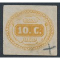 ITALY - 1863 10c ochre-brown Postage Due, imperforate, used – Michel # P1d