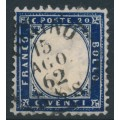 ITALY - 1862 20c blue King Vittorio Emanuele II, perf. 11½:12, used – Michel # 10