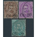 ITALY - 1890 overprints on various King Umberto values set of 3, used – Michel # 56-58