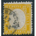 ITALY - 1862 80c yellow King Vittorio Emanuele II, perf. 11½:12, used – Michel # 12