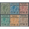 ITALY - 1890 2c Newspaper Stamp o/p on Parcel Stamps set of 6, MH – Michel # 61-66