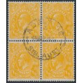 AUSTRALIA - 1928 ½d orange KGV Head, SM watermark, perf. 13½:12½, block of 4, used – ACSC # 68A