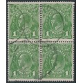 AUSTRALIA - 1926 1d green KGV Head, SM watermark, perf. 13½:12½, block of 4, used – ACSC # 81D