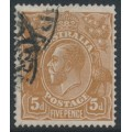 AUSTRALIA - 1917 5d brown KGV Head, single watermark, 'damaged NE corner [state II]', used – ACSC # 123Esa