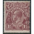 AUSTRALIA - 1919 1½d brown KGV Head, single watermark, 'retouched SW corner [state III]' – ACSC # 85B(5A)eb
