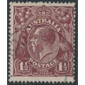 AUSTRALIA - 1919 1½d brown KGV Head, single watermark, 'retouched SW corner [state IV]' – ACSC # 85B(5A)ec