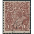 AUSTRALIA - 1919 1½d brown KGV Head, single watermark, 'retouched SW corner' – ACSC # 85C(7)g
