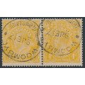 AUSTRALIA - 1917 4d pale orange-yellow KGV Head pair, 'flaw in NW corner', used – ACSC # 110E