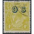 AUSTRALIA - 1932 4d olive KGV Head, SM watermark, p.13½:12½, o/p OS, CTO – ACSC # 116B(OS)w