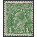 AUSTRALIA - 1926 1d green KGV Head, SM watermark inverted, perf. 14¼:14, MH – ACSC # 80Ba