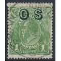 AUSTRALIA - 1932 1d green KGV Head, o/p OS, CofA watermark reversed, used – ACSC # 82B(OS)aa