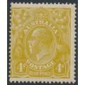 AUSTRALIA - 1924 4d olive-yellow KGV Head, single watermark, MH – ACSC # 114C