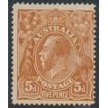 AUSTRALIA - 1915 5d chestnut KGV, SLP, 'break in upper frame at right', MH – ACSC # 122A