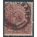 AUSTRALIA - 1924 2d brown KGV Head, single watermark, 'white flaw on LVT', used – ACSC # 97A(16)f