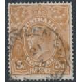 AUSTRALIA - 1917 5d yellow-brown KGV Head, single watermark, 'splintered NE corner', used – ACSC # 123Eh