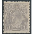 AUSTRALIA - 1924 3d pale dull violet-blue KGV Head, die I, single watermark, 'dry ink' & coarse paper, MH – ACSC # 104Bc