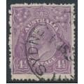 AUSTRALIA - 1924 4½d violet KGV Head, single watermark, on coarse paper, used – ACSC # 118A